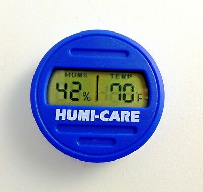 Humi-Care Blue Round Digital Cigar Hygrometer / Temperature ~NEW~