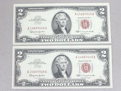 1963 $2.00 United States Red Seal Notes (Set Of 2 Consecutive Numbers) Xf To Au