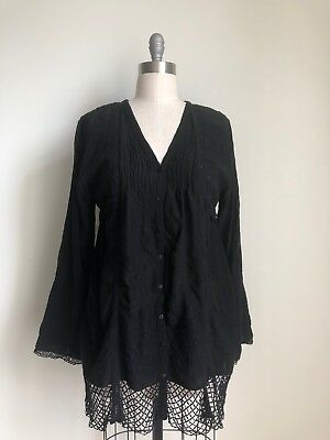 NWT $298 JOHNNY WAS SIZE LARGE WISHMOR TUNIC  EMBROIDERED SILK TOP DRESS GRANITE