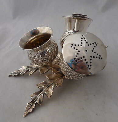 Antique Silver Plated Scottish Thistle Cruet Set NO LINERS A670917