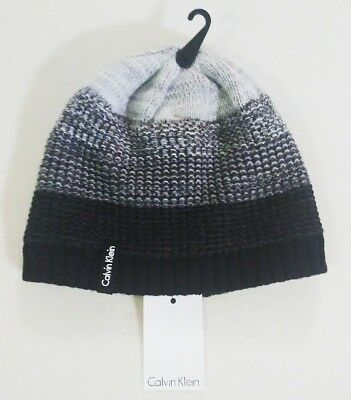 e17c8e8dcb7 Calvin Klein Women s Ombre Knit Beanie Winter Cap Hat Black OS New With Tags
