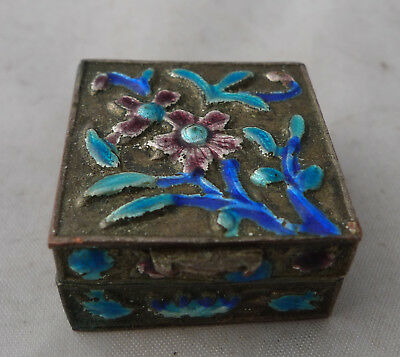 Antique Chinese Silver Plated & ENamelled Box 14g 2.4cm x 2.4cm x 1.2cm A672517