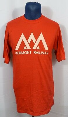 VTG Vermont Railway 1980's T-Shirt 50/50 Blend Made in USA Railroad Trains NWOT