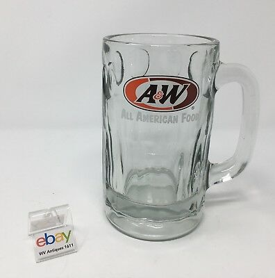 """A&W Root Beer Mug """"All American Food"""" Thick, Heavy Glass - 5 7/8"""" Tall"""