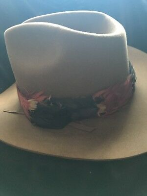 ef518bc6902 Mens Hat Sheplers Large Wool Cowboy Brown Made in USA Used FEATHER BAND