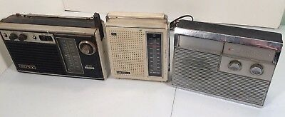 Vintage Transistor Radio Lot 3 Units Sony TFM-7250W, Panasonic RF-561 and Philco