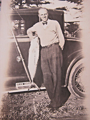 Vintage Early 1900s Man Bow Tie Ford Car Automotive Fishing Reel Snapshot Photo