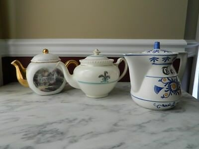 3 vintage/antique (?) porcelain/ceramic teapots, one of which is Thomas Kinkade