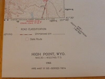 High Point, Wyoming 1966 Original, Vintage, Usgs Topo Map, 7.5 - Minute