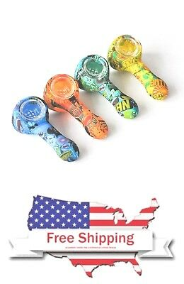 3.5 inches Silicone Smoking Hand Pipe Custom Designs 100% Unbreakable & Portable