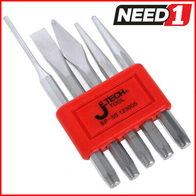 2 x JETECH 5pc Punch Sets - Includes Pin, Centre, Taper and Cap Punches