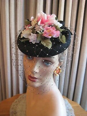 40's Flair....black Straw Tilt Hat With Colorful Flowers On Crown And Veil