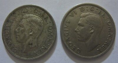 2pc Lot of Half Crown Coins From The United Kingdom. .500 Silver
