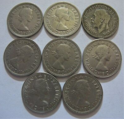 Lot of Six Pence Coins From The United Kingdom .500 Silver