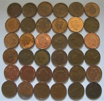 Mixed Lot of Pennies and One Farthing From the United Kingdom 1955-2015