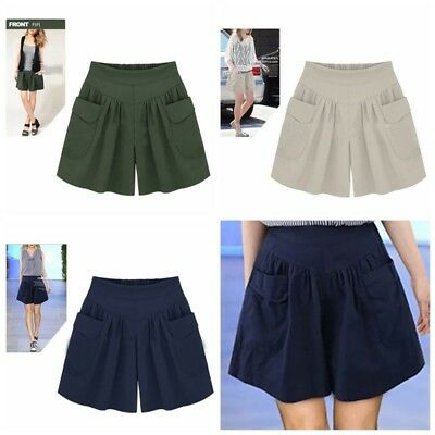 Women Plus Size Pants Solid Color Casual Beach Shorts High Waist Loose Shorts