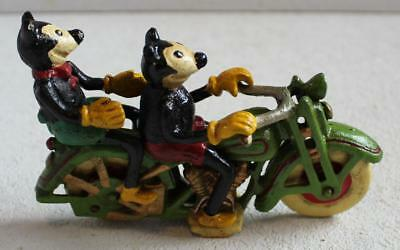 Cast Iron Mickey & Minnie Mouse On A Two Seat Motorcycle Cycle