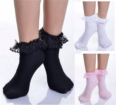 Ruffled Lace Top Ankle High Socks Nylon Frilly Trim Anklet Lolita Pin-Up Retro