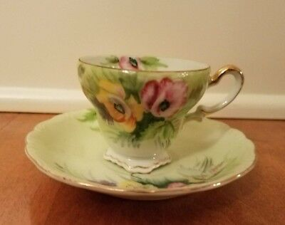 Vintage Tea Cup & Saucer Hand painted Floral  JAPAN High tea