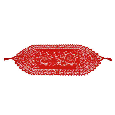 Red Vintage Lace Table Runner Dresser Scarf Wedding Party Home Decor Floral Oval