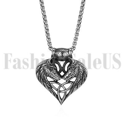 Stainless Steel Wolf Celtic Cross Irish Knot Matching Heart Pendant Men Necklace