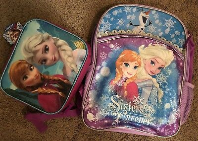 New Girls Disney Princess Frozen Backpack School Carry Anna Elsa Food Lunch Bag