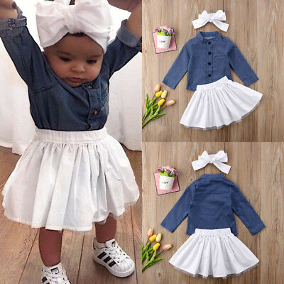 Toddler Baby Girl Clothes Set Denim tops+skirts+Headband Outfits Summer Outfits