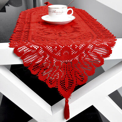 Red Vintage Table Runner Dresser Scarf Oval Lace Doily Wedding Floral 13x70inch