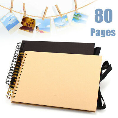 80 Pages DIY Photo Album Scrapbook Vintage Kraft Paper Self Adhesive Art Crafts