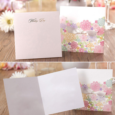 Flower Silver Personalized Laser Cut Wedding Invitation Cards Free Envelope Seal