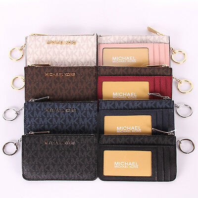 NWT Michael Kors JET SET TRAVEL Small Top Zip Coinpouch W/ID  Keyring Wallet