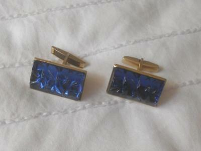 Pr Vintage 1960S Blue Ice Water Effect Glass Stone Set Goldtone Metal Cufflinks