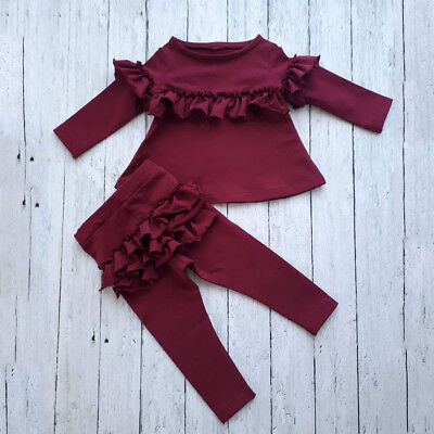 UK Toddler Kids Baby Girl Ruffle Cotton Tops Pants Leggings 2Pcs Outfits Clothes