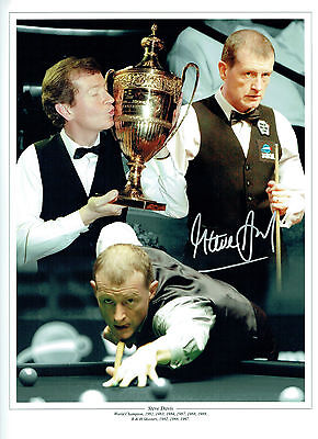 Steve DAVIS Signed Autograph Large 16x12 SNOOKER Montage Photo AFTAL COA