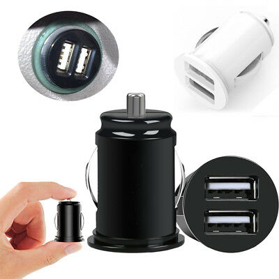 1Pc Black/White Car Truck Dual 2 Port USB Mini Charger Adapter For Cellphone
