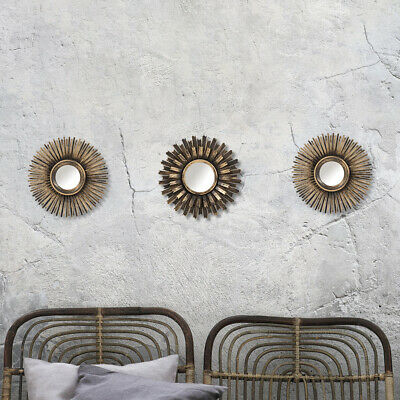 Set of 3 Bronze Effect Ornate Sunburst Morrocan Style Sun Burst Wall Art Mirrors