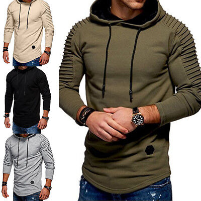 Men Top T-Shirt Long Sleeve Slim Fit Hooded Sweatshirt Pullover Sweat Hoodies
