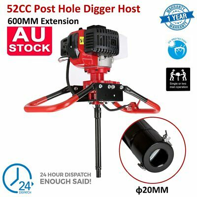 Post Hole Digger Earth Auger 52CC Power Engine 600MM Drill 2.3HP Pro Gas Powered
