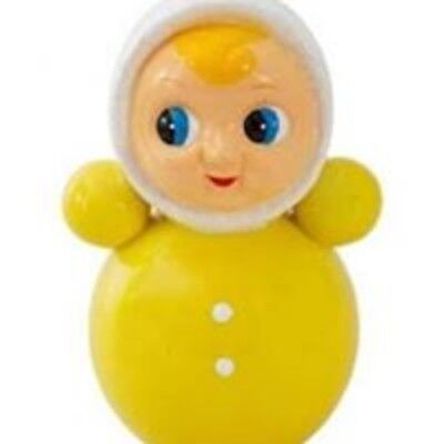 new yellow Porcelain vintage style roly poly doll money box by Kitsch kitchen