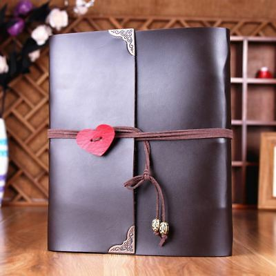 PU Leather Vintage Heart Kraft Paper Photo Album Wedding Baby Scrapbook DIY AU