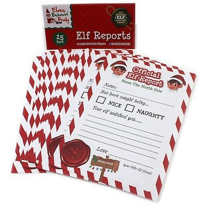 25 x Christmas Elf Report Cards Kids Novelty Letter From The North Pole Naughty