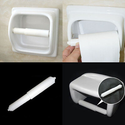 New White Plastic Replacement Toilet Paper Roll Holder Roller Stretch Spindle 2P
