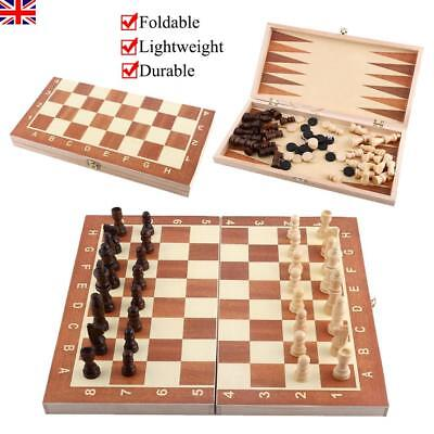 Durable Wooden Large Folding Chess Board & Chess Pieces Set Storage Box Case UK