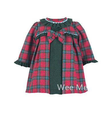 *SALE* Winter Gorgeous Baby Girl Red Green Spanish Long Sleeve Dress Frilly Neck