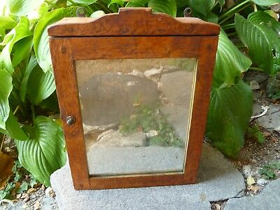 Antique  Vintage Wood&Mirrored door  Medicine Cabinet Apothecary Wall Chest