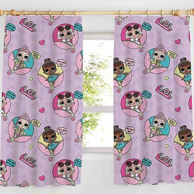 "OFFICIAL LOL SURPRISE GLAM CURTAINS GIRLS KIDS PINK LILAC BEDROOM - 66"" x 54"""