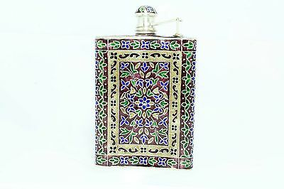 Handmade Multi Enamel Cloisonne SILVER Hip Liquor Whiskey Alcohol Flask 102.90 G