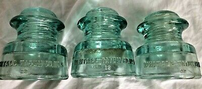 Vintage Insulator Lot of 3, Whitall Tatum No. 5, Made in USA, Blue Green Aqua,