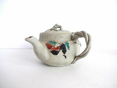Antique Meiji-Era 19th-Century Japanese Banko Ware Teapot with Swallows and Grap