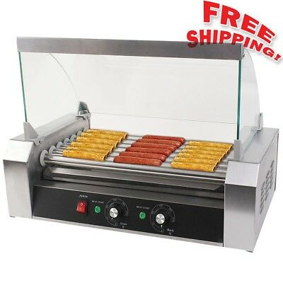 """NEW"" Commercial 18/30 Hot Dog Hotdog 7/11 Roller Grill Cooker Machine w/ Cover"